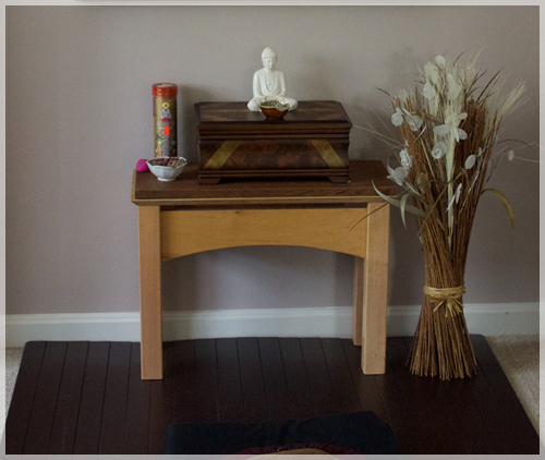 All Ready For A Serious Meditation Session With Incense, Candle, And A  Buddha Statue For A Focused Intention.
